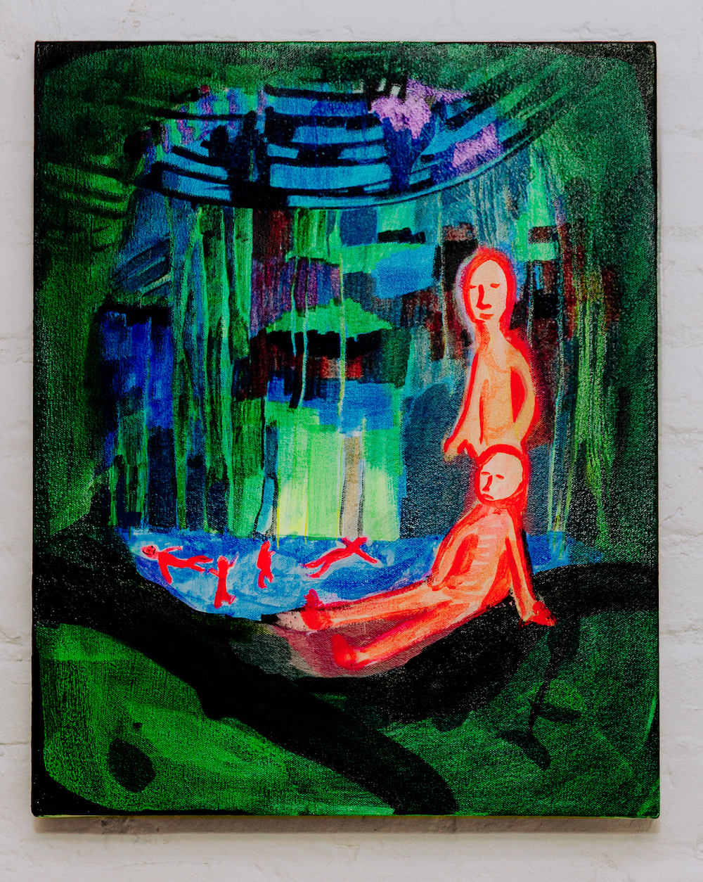 A medium sized painting of two figures in flourescent pink inside of dark green cenote, a natural pit of underground water.